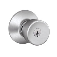 F51A-BEL-626 Schlage F Series - Knob Bell Style with Keyed Entrance Lock Function in Satin Chrome
