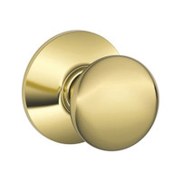 F170-PLY-605 Schlage F Series - Knob Plymouth Style with Single Dummy Trim Function in Bright Brass