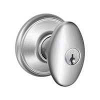 F51A-SIE-626 Schlage F Series - Knob Siena Style with Keyed Entrance Lock Function in Satin Chrome