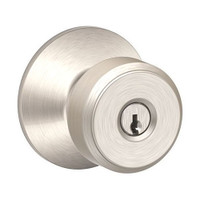 F51A-BWE-618 Schlage F Series - Knob Bowery Style with Keyed Entrance Lock Function in Polished Nickel