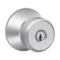F51A-BWE-626 Schlage F Series - Knob Bowery Style with Keyed Entrance Lock Function in Satin Chrome