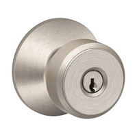 F80-BWE-619 Schlage F Series - Knob Bowery Style with Storeroom Lock Function in Satin Nickel