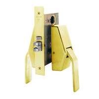 HL6-9485-605 Glynn Johnson HL6 Series Hotel Lock Thumbturn Function Push and Pull latch with Mortise Lock in Bright Brass Finish