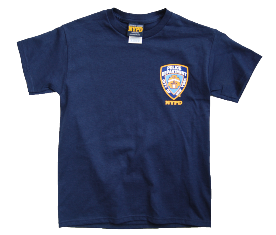 749aa85f9 ... T-Shirts; NYPD Kids Unisex Navy Tee with Yellow Back print and Emblem  Patch. Image 1 · Image 1