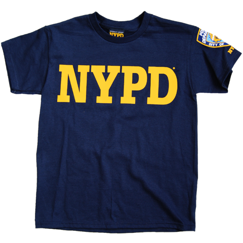 NYPD Kids Navy Unisex Tee with Yellow Chest and Sleeve Patch