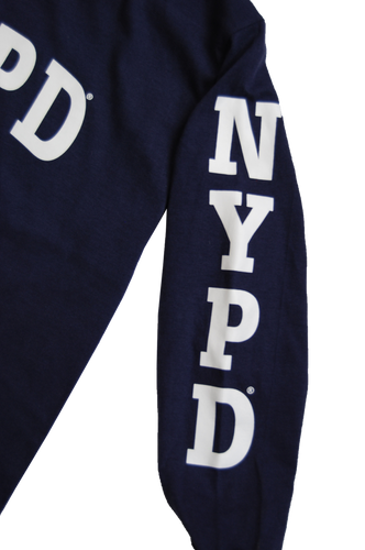 NYPD Kids Unisex Navy Tee with White Chest and Sleeve Print