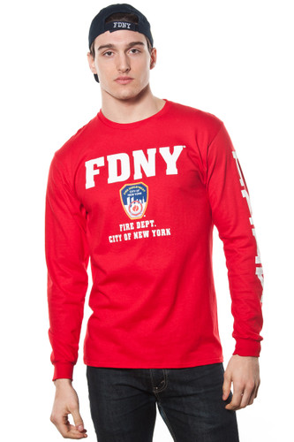 FDNY Adult Red Long Sleeve Tee with Chest and Sleeve Print