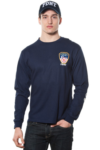 FDNY Adult Navy Long Sleeve Tee with Chest, Sleeve and Back Print