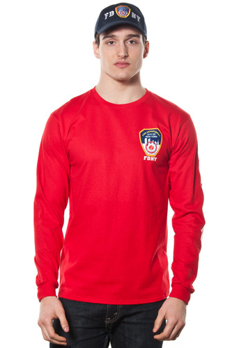 FDNY Adult Red Long Sleeve Tee with Chest, Sleeve and Back Print