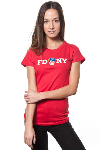 FDNY Ladies Red Cap Sleeve Tee with White Chest Print