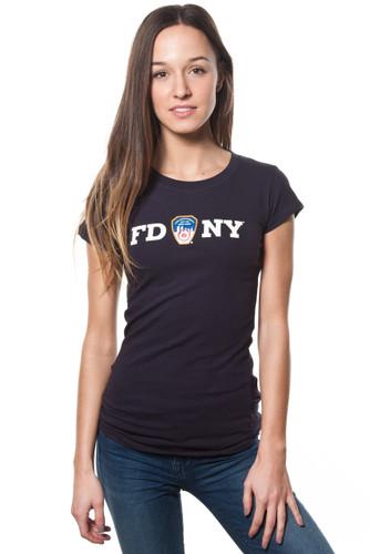 FDNY Ladies Navy Cap Sleeve Tee with White Chest Print