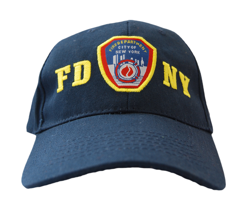 FDNY Adults Navy Hat with Yellow Embroidered Emblem Design