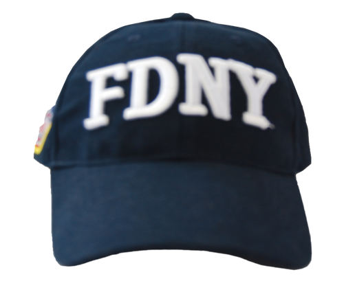 FDNY Adults Navy Hat with White Front and Emblem Side Design