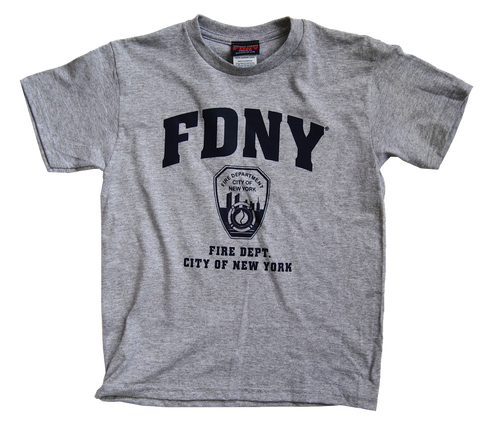 FDNY Kids Gray Tee with Navy Chest Print
