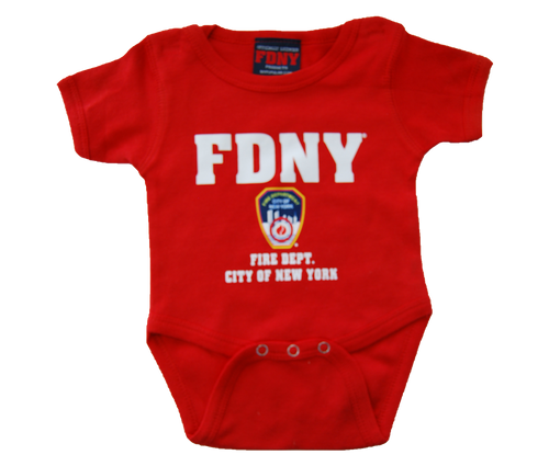 FDNY Infants Red Onesie with Colored Chest Print