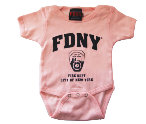 FDNY Infants Pink Onesie with Navy Chest Print