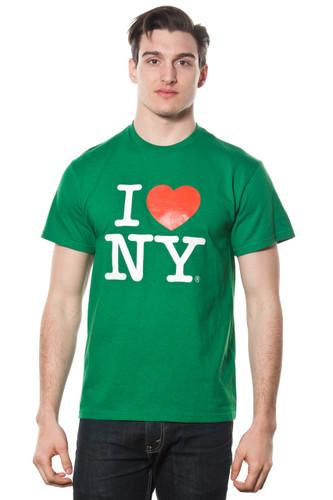 Mens I LOVE NY Short Sleeve T-Shirt Green