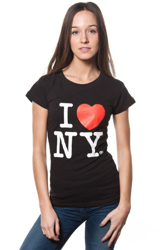 Ladies I LOVE NY Cap Sleeve T-Shirt Black