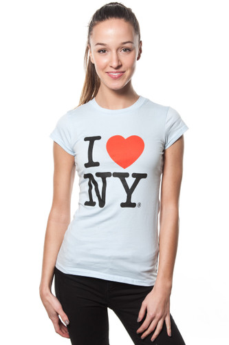 Ladies I LOVE NY Cap Sleeve T-Shirt Light Blue