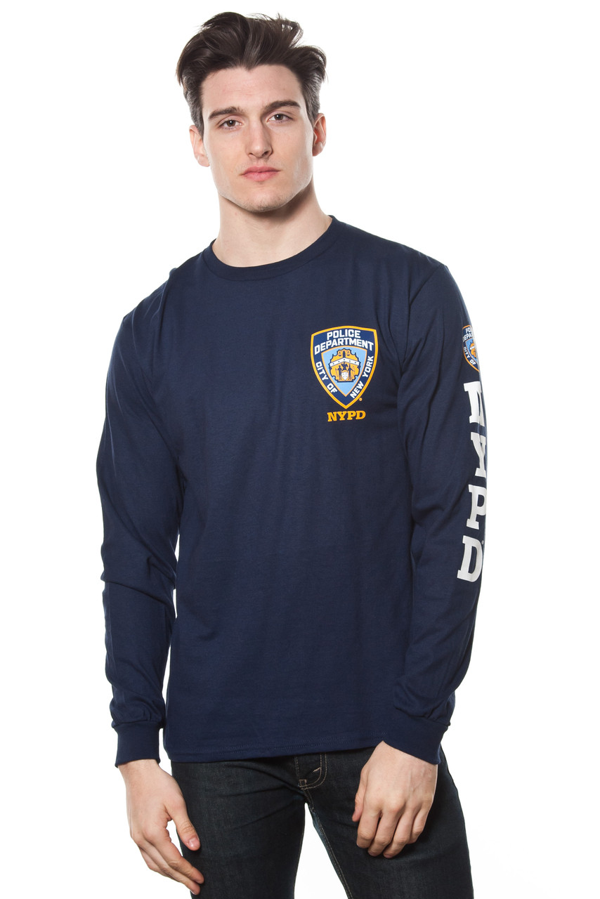 2b3bb669 Adult NYPD Long Sleeve Tee With Logo Patch and Sleeve Print - New ...