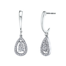 14K White Gold Diamond Teardrop Dangle Earrings 0.75 DTW