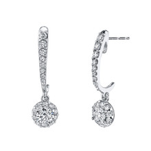 14K White Gold Diamond Halo Dangle Earrings 0.75 DTW