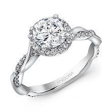 14 Karat White Gold .36 DTW Semi-mount Halo  Pictured as a full setting.   Center Diamond not included.
