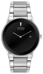 Stainless steel case and bracelet with a black dial and edge-to-edge glass and date. Featuring Eco-Drive technology – powered by light, any light. Never needs a battery.