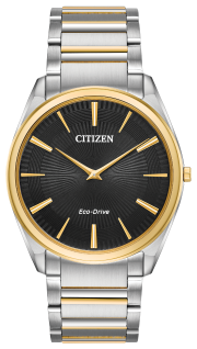 Powered by any light with Eco-Drive Technology and featured in two-tone stainless steel with black Guilloché dial.
