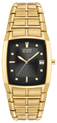 Black, oblong dial in stainless steel gold tone case and deployment clasp with push button. Featuring Eco-Drive technology – powered by light, any light. Never needs a battery.