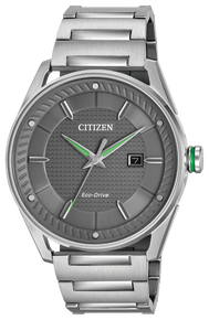 Stainless steel band with a dark grey dial and green accents. Featuring Eco-Drive technology – powered by light, any light. Never needs a battery.