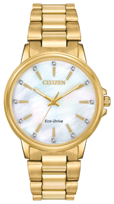 Ladies' gold-tone stainless steel case and bracelet with Swarovski® crystals on white Mother-of-Pearl dial. Featuring Eco-Drive technology – powered by light, any light. Never needs a battery.