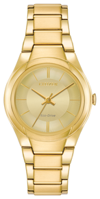 Gold-tone stainless steel with a light champagne dial. Featuring Eco-Drive technology – powered by light, any light. Never needs a battery.