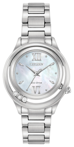 Stainless steel case and bracelet, Mother-of-Pearl dial, features floating diamonds, and diamond crown. Featuring Eco-Drive technology – powered by light, any light. Never needs a battery.
