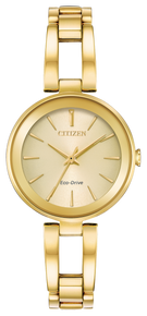 Gold-tone stainless steel case and bracelet with champagne dial. Featuring Eco-Drive technology – powered by light, any light. Never needs a battery.