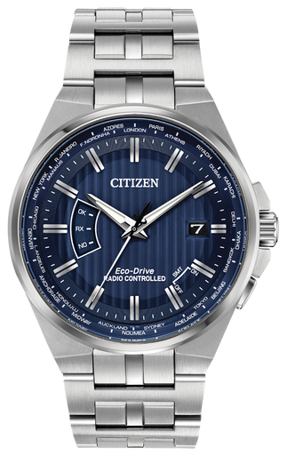 Powered by any light with Eco-Drive technology and features atomic timekeeping with synchronized time adjustment, perpetual calendar and date. Seen here in a men's stainless steel case and bracelet with navy blue dial.