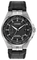 Powered by any light with Eco-Drive technology and features atomic timekeeping with synchronized time adjustment, perpetual calendar and date. Seen here in a men's stainless steel case, sleek black leather strap and black dial.