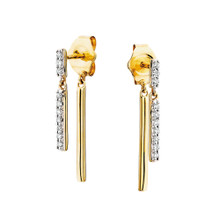 10K Yellow Gold Post Diamond Earrings with 1 Diamond Bar in Front and 1 Gold Bar on Earring Back 0.10 DTW