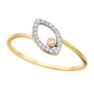 10KY Open Slanted Marquise Shape Diamond Ring with 1 Diamond in Center at one End 0.06 DTW