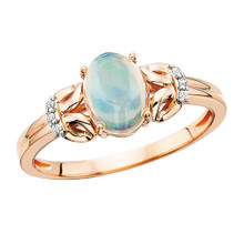10K Rose Gold Oval Opal Ring with three Small Diamonds on Sides 0.03 DTW