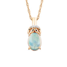 "10K Rose Gold Oval Opal & Diamond Pendant w/18"" Chain 0.015 DTW"