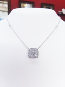 "18K White Gold Diamond Station Necklace 1.04 DTW 18"" Chain"