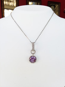 """Sterling Silver Amethyst Pendant with Twisted Bezel & Bail on 18"""" Chain"""