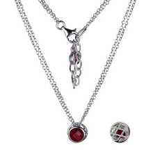 "Elle Sterling Silver Garnet Bezel Pendant on a Double 18"" Chain"