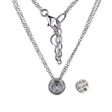 "Elle Sterling Silver White Corundum Bezel Pendant on a Double 18"" Chain"