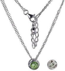 "Elle Sterling Silver Peridot Bezel Pendant on a Double 18"" Chain"