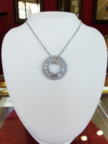 "Sterling Silver  Baguette CZ Circle Pendant on 18"" Chain"