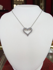 "Sterling Silver & CZ Open Heart Pendant on 18"" Chain"