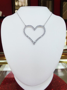 "Sterling Silver & CZ Large Open Heart Pendant on 18"" Chain"