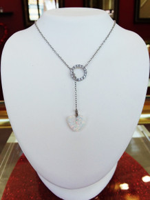 Sterling Silver & CZ Lariat Necklace with Created Opal Heart